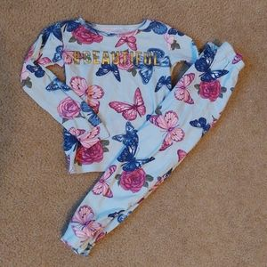 4t Girls floral butterfly beautiful pajama set